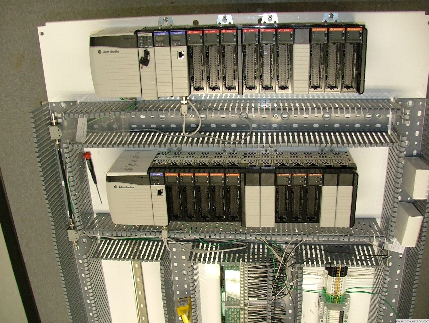 Allen Bradley ControlLogix PLC with wiring interface modules.